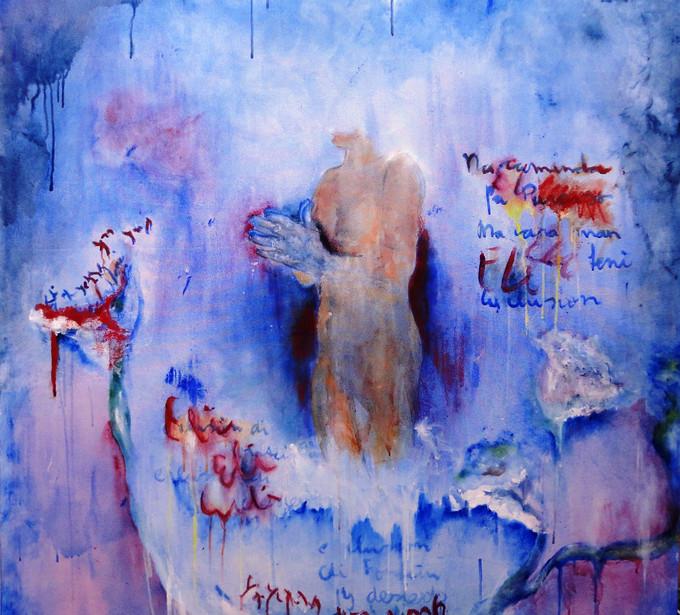 Fontein-di-Alto-Paraiso-(Fountain-of-High-Paradise-Acrylic-and-oil-on-canvas--1.25m-x-1.50