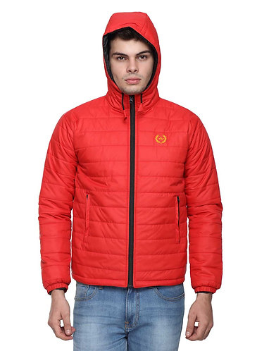 Arrow Quilted & Hooded Red Jacket