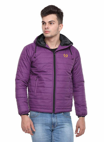 Arrow Quilted & Hooded Purple Jacket
