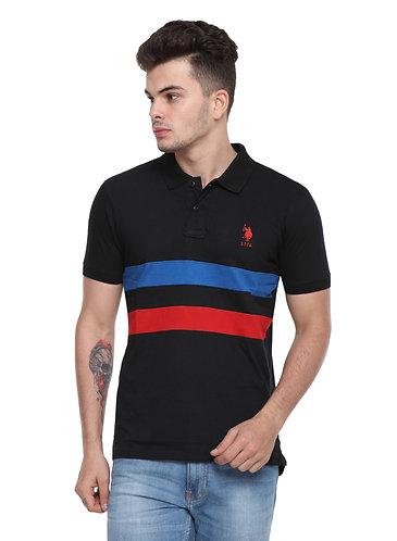 USPA Cut & Sew Black Combo Tshirt