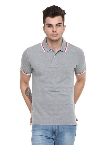 Arrow Collared Grey Melange Tshirt with tipping