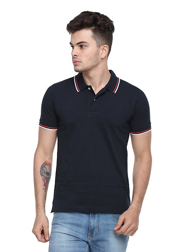 Arrow Navy Blue Collared Tshirt with tipping