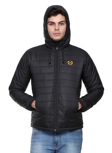 Arrow Quilted & Hooded Black Jacket