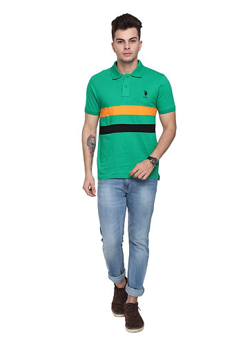 USPA Cut & Sew Green Combo Tshirt