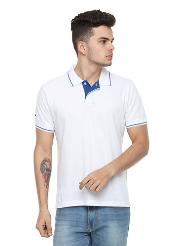 Ruggers White Tshirt with Blue tipping