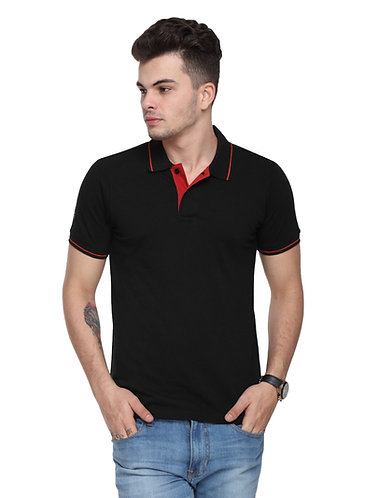 Ruggers Black Tshirt with Red Tipping