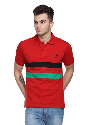 USPA Cut & Sew Red Combo Tshirt