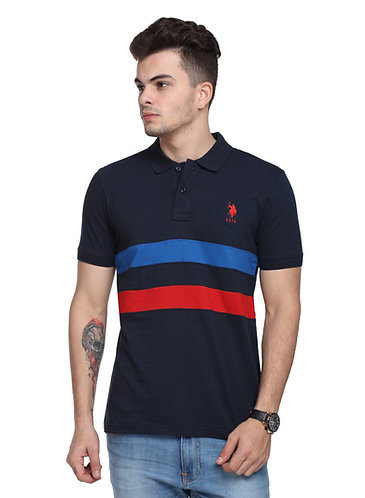 USPA Cut & Sew Navy Blue Combo Tshirt