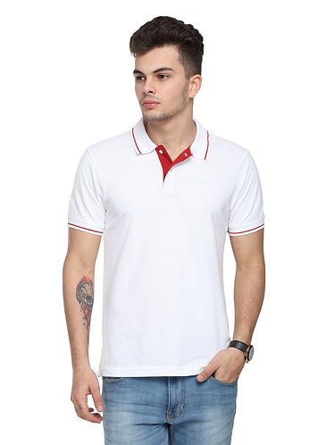 Ruggers White Tshirt with Red tipping