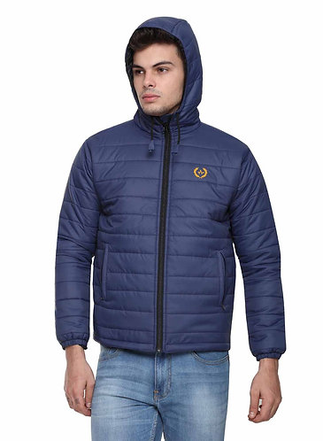 Arrow Quilted & Hooded Navy Blue Jacket