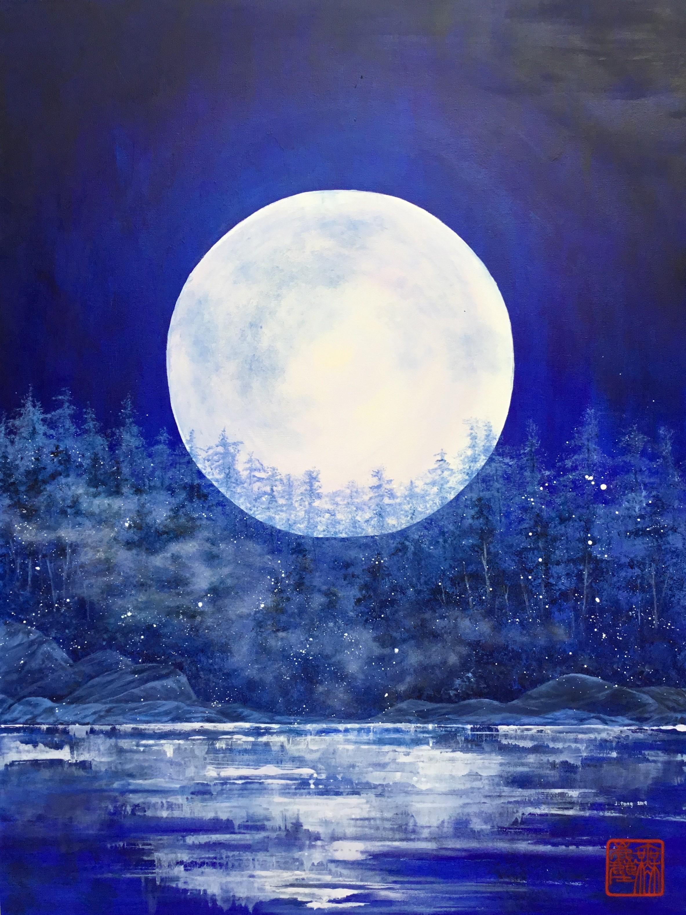 The Full Moon .        36 x 48 cm. 無麈