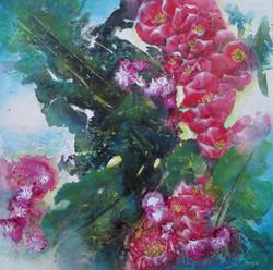 In Bloom, Red II  61 x 61cm