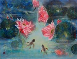 Fish and Lotus 80 x 100cm