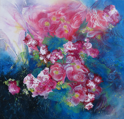 In Bloom, Red I  61 x 61cm