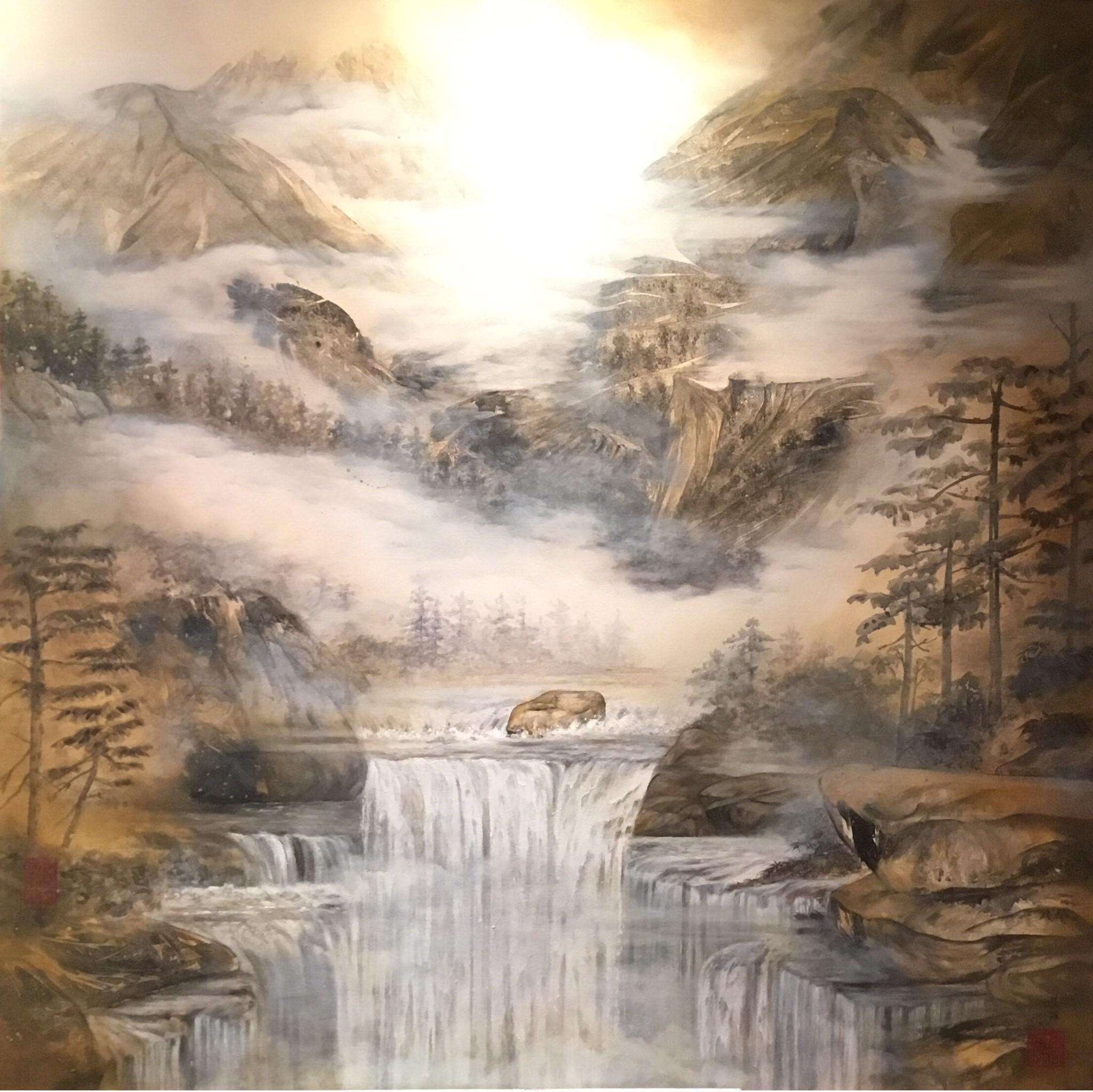 Colour of Autumn.   48 x 48 cm.  秋水長天
