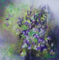 In Bloom, Purple 61 x 61cm