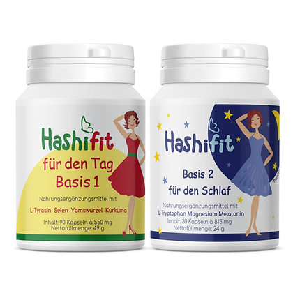 Set Hashifit Basis 1 für den Tag und Hashifit Basis 2 für den Schlaf Kapseln in 2 Dosen mit praktischem Klappdeckel
