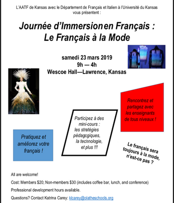 JOURNEE D'IMMERSION 2019. LE FRANÇAIS A LA MODE - University of Kansas, Lawrence