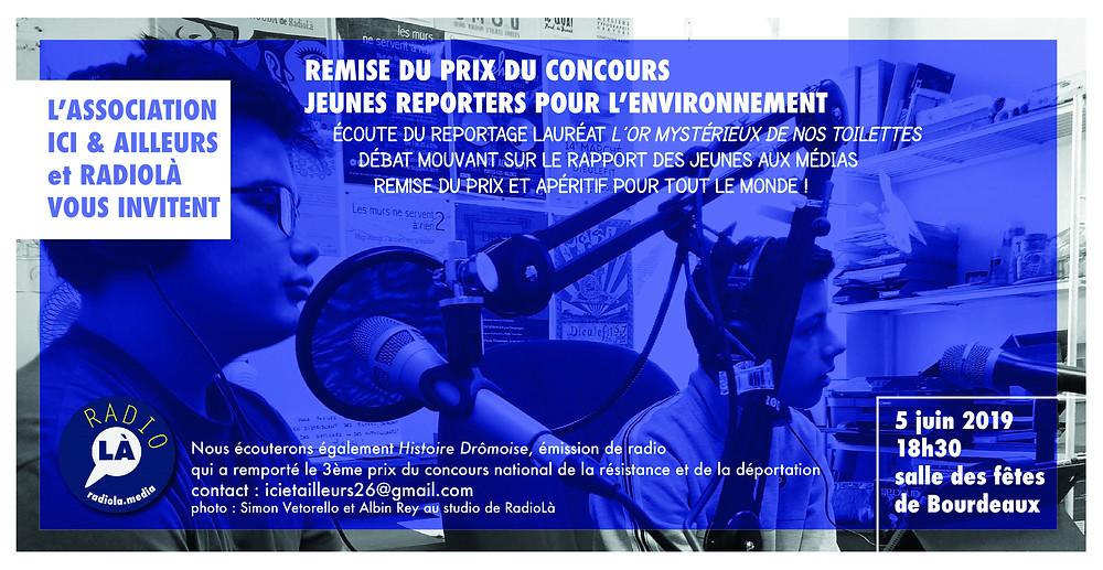 Carton di'nviation remise du prix jeunes reporter pour l'environnement