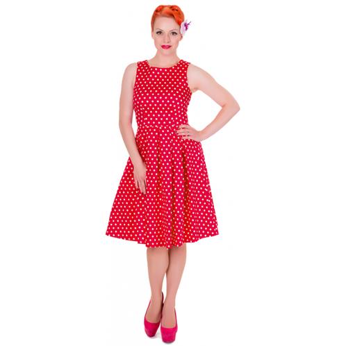 4128fca7da71 V týchto retro šatách budeš zaručene neodolateľná! Červené bavlnené retro  šaty Lola značky Dolly and Dotty. Sú ušité z ľahučkej bavlny.