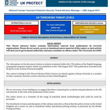 UK Terror Threat Advisory Notice