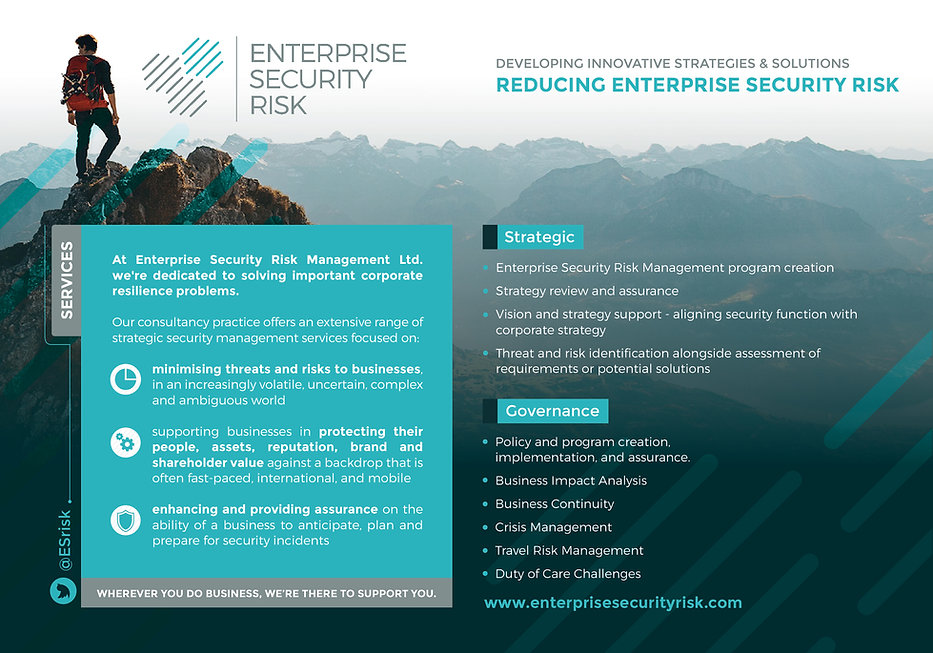 Enterprise Security Risk Management Program creation. How to implement and Enterprise Security Risk Management program. Why is corporate security important? #ESRM. Independent security consultant. Duty of Care. Travel Risk Management. Business Continuity. Crisis Management. Business Impact Analysis. Threat and Risk Identification