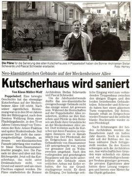 Kutscherhaus Bonner Rundschau 3.11.00