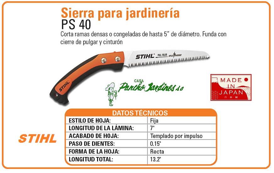 """SERROTE PROFESIONAL RECTO FIJO DE 7"""" DE HIJA DE CORTE  STIHL PS 40"""