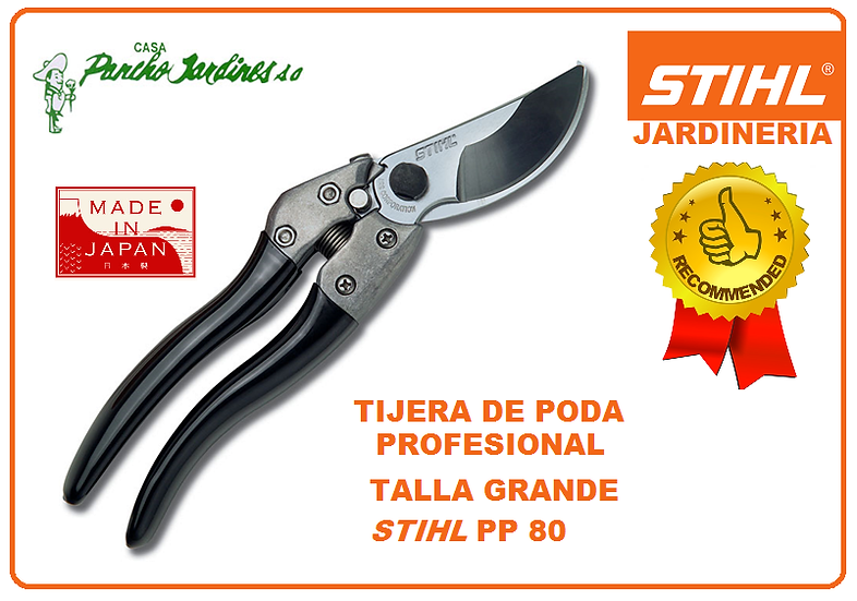 TIJERA A UNA MANO PROFESIONAL TALLA GRANDE EN ACERO, STIHL PP80