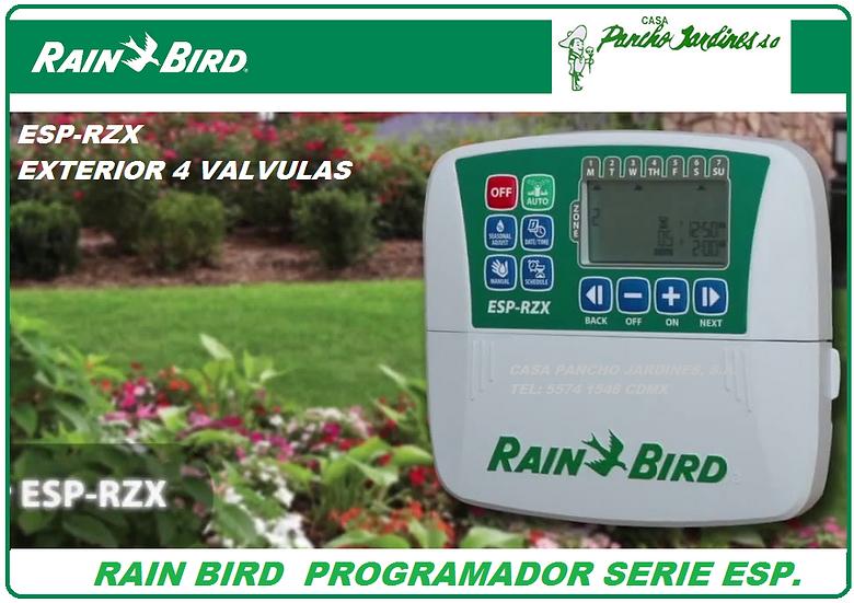 PROGRAMADOR DE RIEGO RAIN BIRD ESP RZX 4 ESTACIONES EXTERIOR 110V