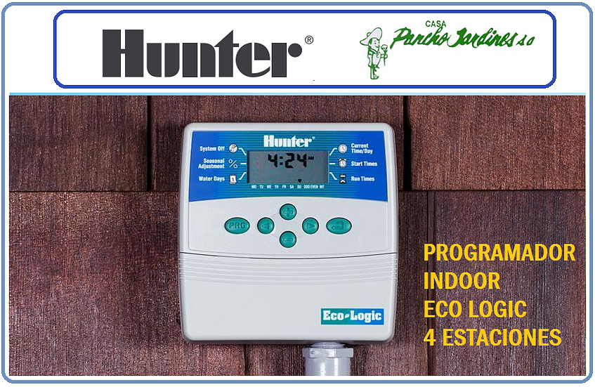 PROGRAMADOR INDOOR 4 ESTACIONES HUNTER ECO LOGIC