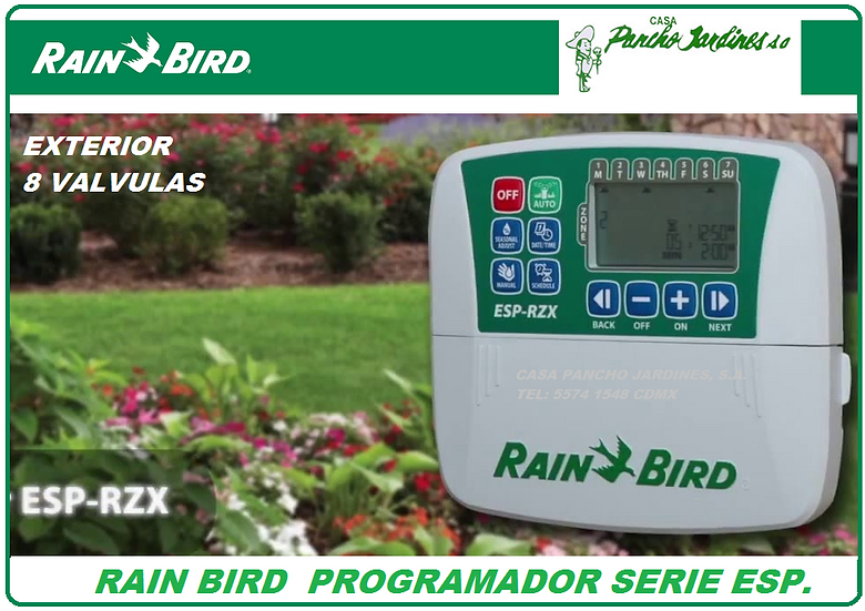 PROGRAMADOR DE RIEGO RAIN BIRD ESP RZX 8 ESTACIONES EXTERIOR 110V