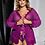 Thumbnail: Sallonaa Lingerie intimate Lace trim robe with G string
