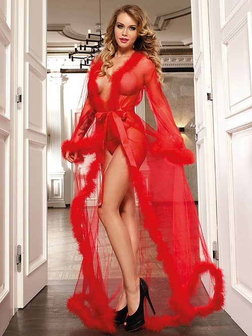 Queen Red Robe Perspective Sheer Sleepwear With Fur