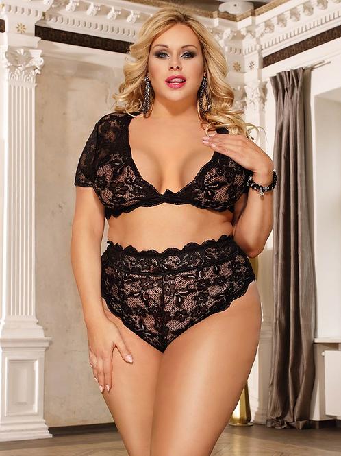 Seduction Sexy Girls High Waist Black Full Lace Bra Panty Underwear