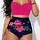 Thumbnail: Pink Crop top High Waisted swimsuit