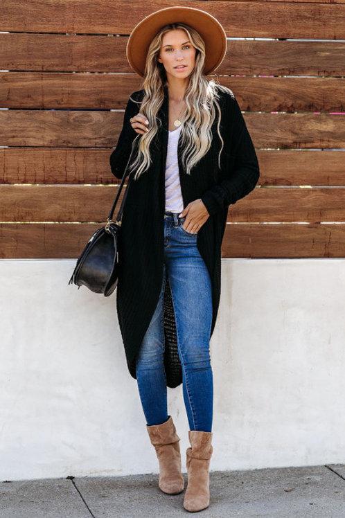 Black Convertible Cashmere Cardigan