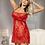 Thumbnail: Red Plus Size Sexy Eyelash Trim Lace Red Babydoll Set
