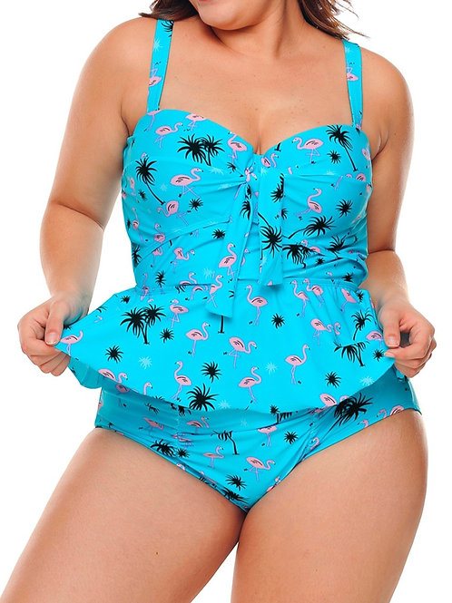 Blue Peplum Swimsuit