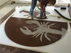Sand Blast Logo Stained