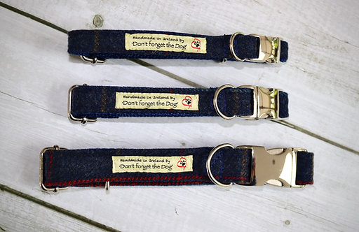 Navy Blue Wool Collar on Metal Buckle