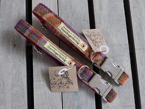Burgundy Tweed Wool Collar Metal Buckle