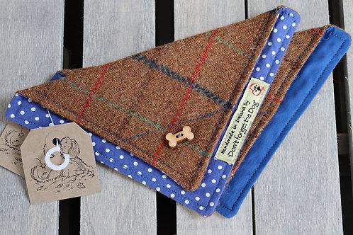 Tan Windowpane Tweed Wool Neckerchief Bandana