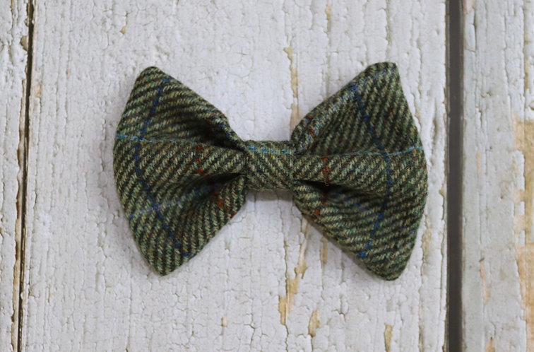 Two Tone Green Tweed Wool Dicky Bow