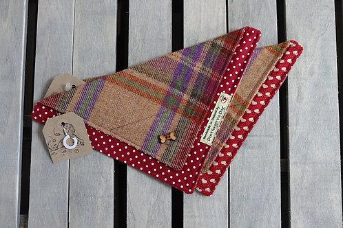 Burgundy Tweed Wool Neckerchief Bandana