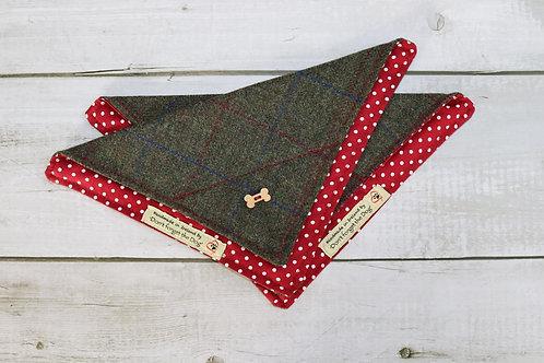 Green Windowpane Tweed Neckerchief Bandana 'on Red'