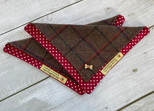 Brown & Red Country Tweed Neckerchief Bandana