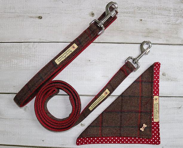 Brown & Red Tweed Wool Lead Metal Trigger Clasp