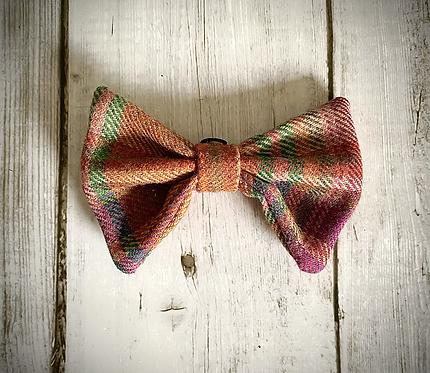 Purple Green & Russet Tweed Wool Dicky Bow