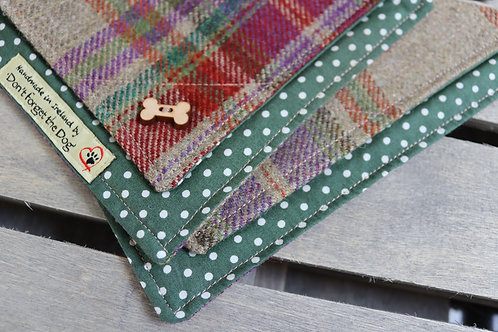 Green/Red Tweed Wool Neckerchief Bandana